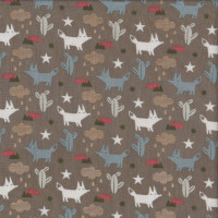 Foxes Cactus Stars Clouds on Brown Quilting Fabric