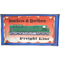 Freight Line Train Locomotive All Aboard Boys Quilt Fabric Panel