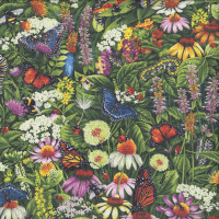 Butterfly Meadow Flowers Frolicking Fields Insects Quilting Fabric
