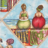 Fruit Ladies on Blue Beach LARGE PRINT Quilting Fabric