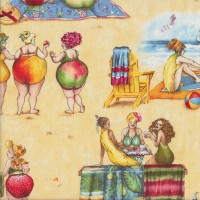 Fruit Ladies Relaxing at The Beach Deck Chairs Ocean Quilting Fabric