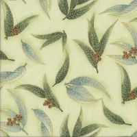Australian Sun Eucalyptus Gum Leaves Gumnuts on Mint Quilting Fabric