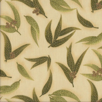 Australian Sun Eucalyptus Gum Leaves Gumnuts on Olive Quilting Fabric