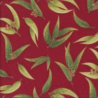 Australian Sun Eucalyptus Gum Leaves Gumnuts on Red Quilting Fabric
