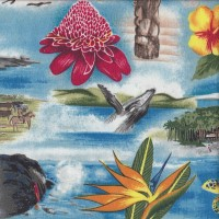 Hawaii Attractions Mountains Flowers Wildlife Quilting Fabric