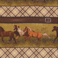 Running Horses Beige Tartan Belt Buckle Border Quilting Fabric
