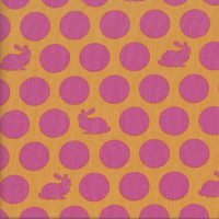 Pink Rabbits Spots on Orange Hoppy Dot Quilting Fabric