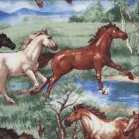 Running Horses Water Trees Landscape EXTRA WIDE Quilting Fabric