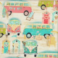 Beachside Kombi Huts Holiday Outdoors Surfing Quilting Fabric