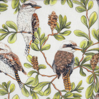 Kookaburras Banksia Trees Native Australian Birds on White Quilting Fabric
