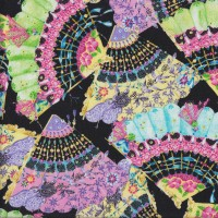 Beautiful Fans with Ribbon and Lace on Black Quilting Fabric