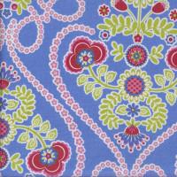Coeur De Fleurs on Cornflower Blue LAMINATED Water Resistant Slicker Fabric