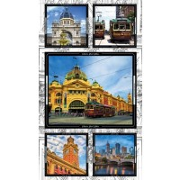 Melbourne Sights Trams Flinders St Station Quilting Fabric Panel