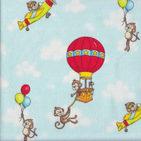 Monkeys Planes Hot Air Balloons on Blue Monkey Around Quilting Fabric