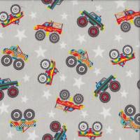 Monster Trucks Stars on Grey Boys Quilting Fabric