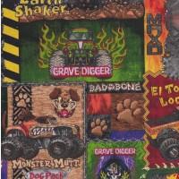 Monster Jam Trucks Earth Shaker Tyres Boys Kids Sport Quilt Fabric