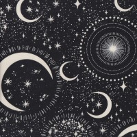 Space Moon Stars Black Glow in the Dark Quilting Fabric