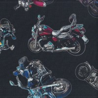 On The Road Classic Motorbikes on Black Boys Mens Quilting Fabric