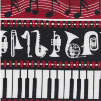 Music Notes Instruments Musical Border Quilting Fabric