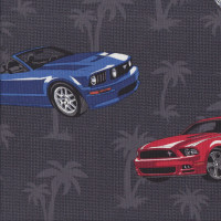 Mustangs Cars Palm Trees on Grey LIGHT WEIGHT Quilting Fabric
