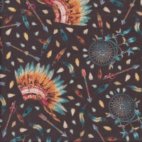 Native American Dream Catchers Headdress Arrows on Brown Quilting Fabric
