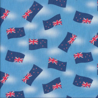 New Zealand Flags on Blue Quilting Fabric
