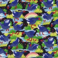 New Zealand Pukekos Rainbows Bird Quilting Fabric