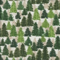 Christmas Pine Trees on Beige Landscape Quilting Fabric