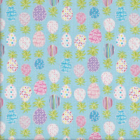 Pretty Patterned Pineapples on Blue Quilting Fabric