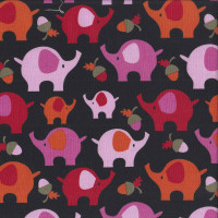 Pink Red Orange Elephants on Black Acorns Quilting Fabric