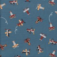 Cute Planes on Dark Blue Grey Kids Boys Quilting Fabric