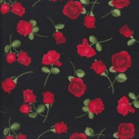 Red Roses on Black Flowers Quilting Fabric