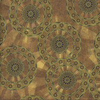 Rise and Shine Mandalas on Brown Tones Quilting Fabric