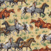 Horses Grass on Tan Round Em Up Country Quilting Fabric