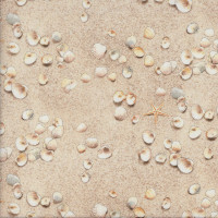 Shells Starfish on the Sand Beach Landscape Quilting Fabric