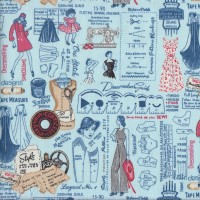 Sew Vintage Sewing Machines Patterns on Blue Quilting Fabric
