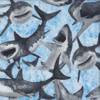 Shark Attack Great White on Blue Ocean Quilting Fabric