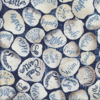 Sea Shells Beach Words on Blue Sand Quilting Fabric