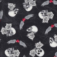 Skulls Roses Wings Born to Ride on Black Quilting Fabric