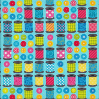 Spools of Fun Sewing Reels and Buttons on Blue Quilting Fabric
