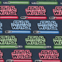 Star Wars Lightsabers Blue Red Green on Navy Blue Quilting Fabric
