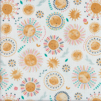 Sunshine Sun Flowers on White Summer Breeze Quilting Fabric