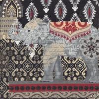 Suzani Caravan Elephants on Red Black LARGE PRINT Quilting Fabric