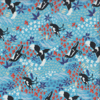 Magpies on Blue Taking Flight Australian Bird Quilting Fabric