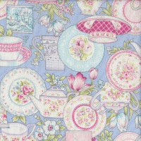 Tea Time Teapots Teacups Flowers on Light Blue Quilting Fabric
