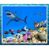 Great Barrier Reef Ocean Shark Coral Tropical Fish Quilt Fabric Panel