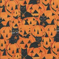 Black Cats Pumpkins Jack-o-Lanterns Halloween Quilting Fabric