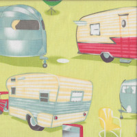 Retro Caravans Cars BBQ Glamping on Green Trailer Travel Quilting Fabric