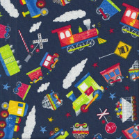 Trains Railroad Crossing Signs on Navy Blue Kids Boys Quilting Fabric