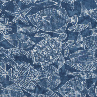 Fish Shells Coral Starfish on Blue Turtle Bay Quilting Fabric
